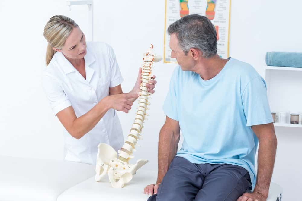 Man at chiropractor's office